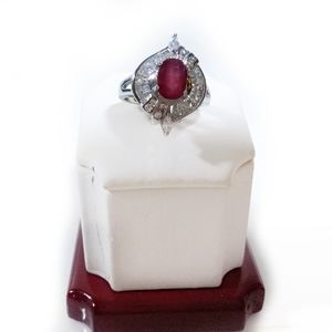 Ruby Cubic Zirconia Ring 925 Sterling Silver